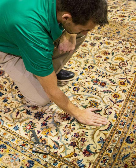 Hampton's Chem-Dry Technician Providing Area Rug Cleaning in Quincy & Hannibal